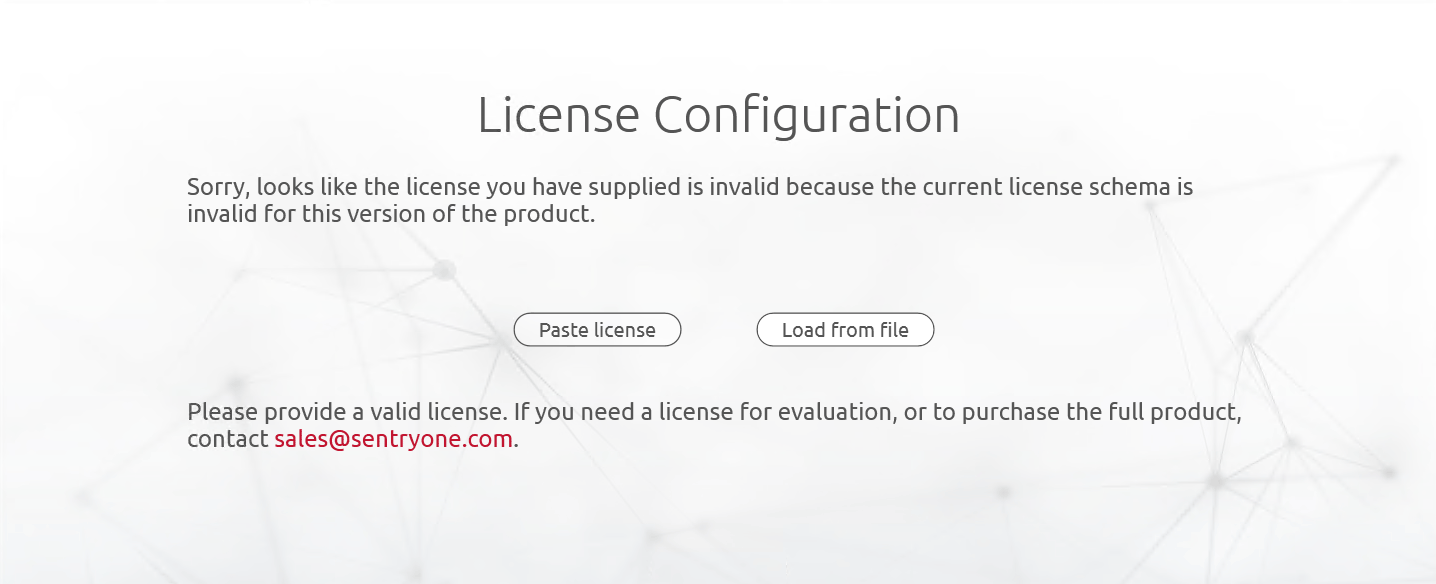 SentryOne License Configuration Error Invalid License Schema