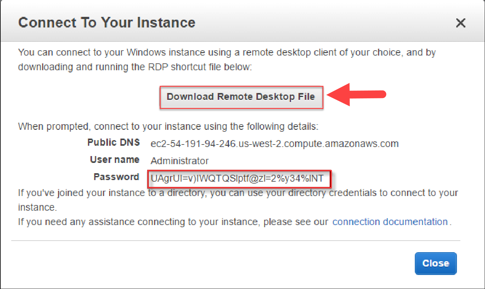 EC2 Download Remote Desktop File