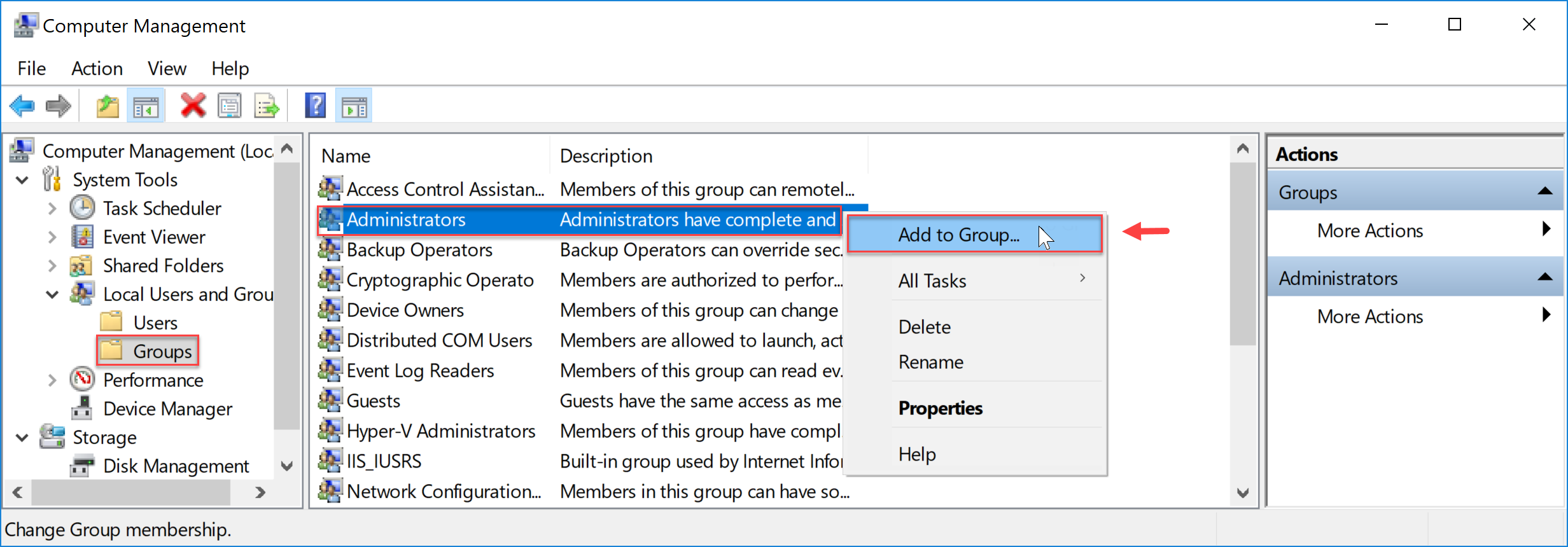 Windows Add user to Administrators group