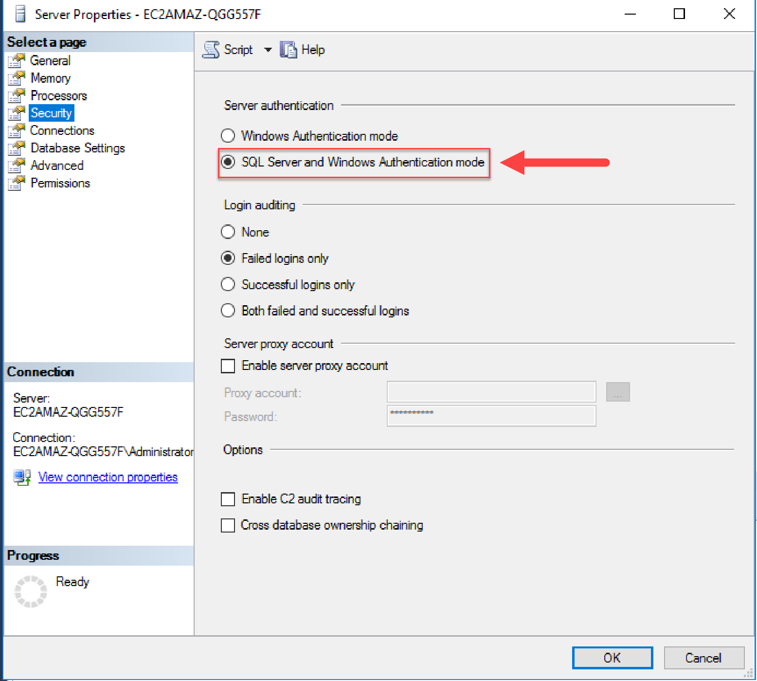 Windows Change SQL Server and Windows Authentication mode