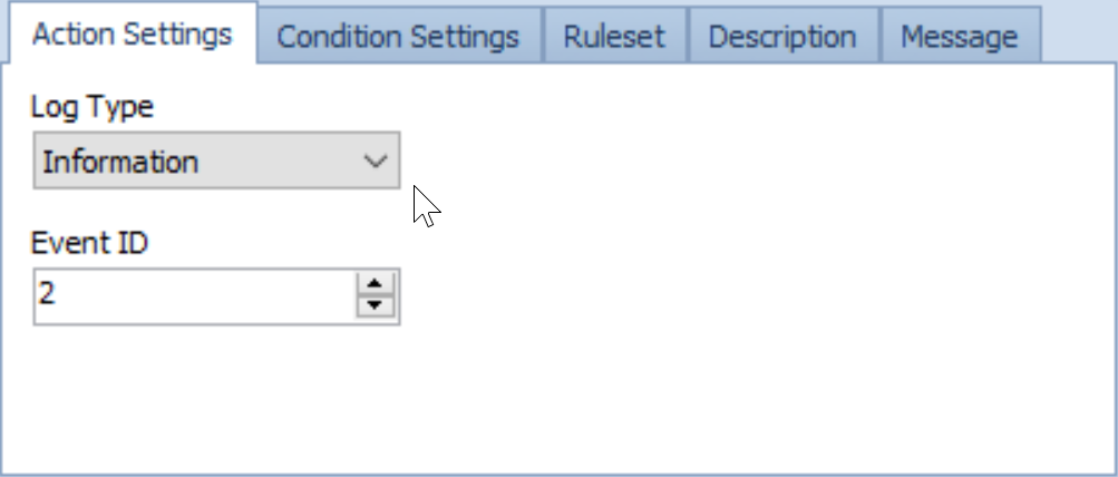SentryOne Log to Windows Event Log Actions Settings