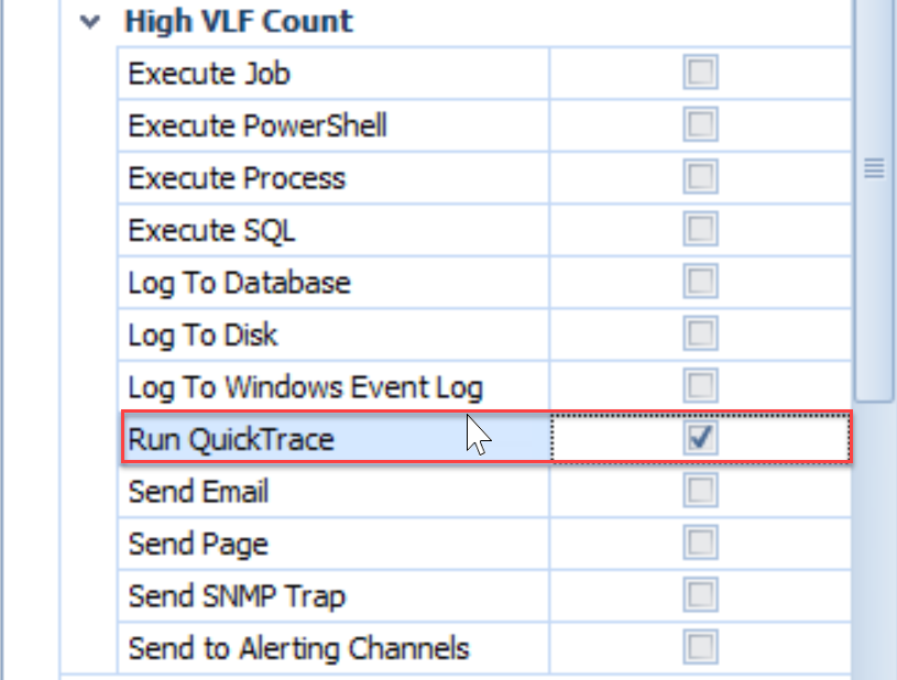 SentryOne Run QuickTrace Action