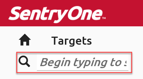 SentryOne Cloud All Targets search bar