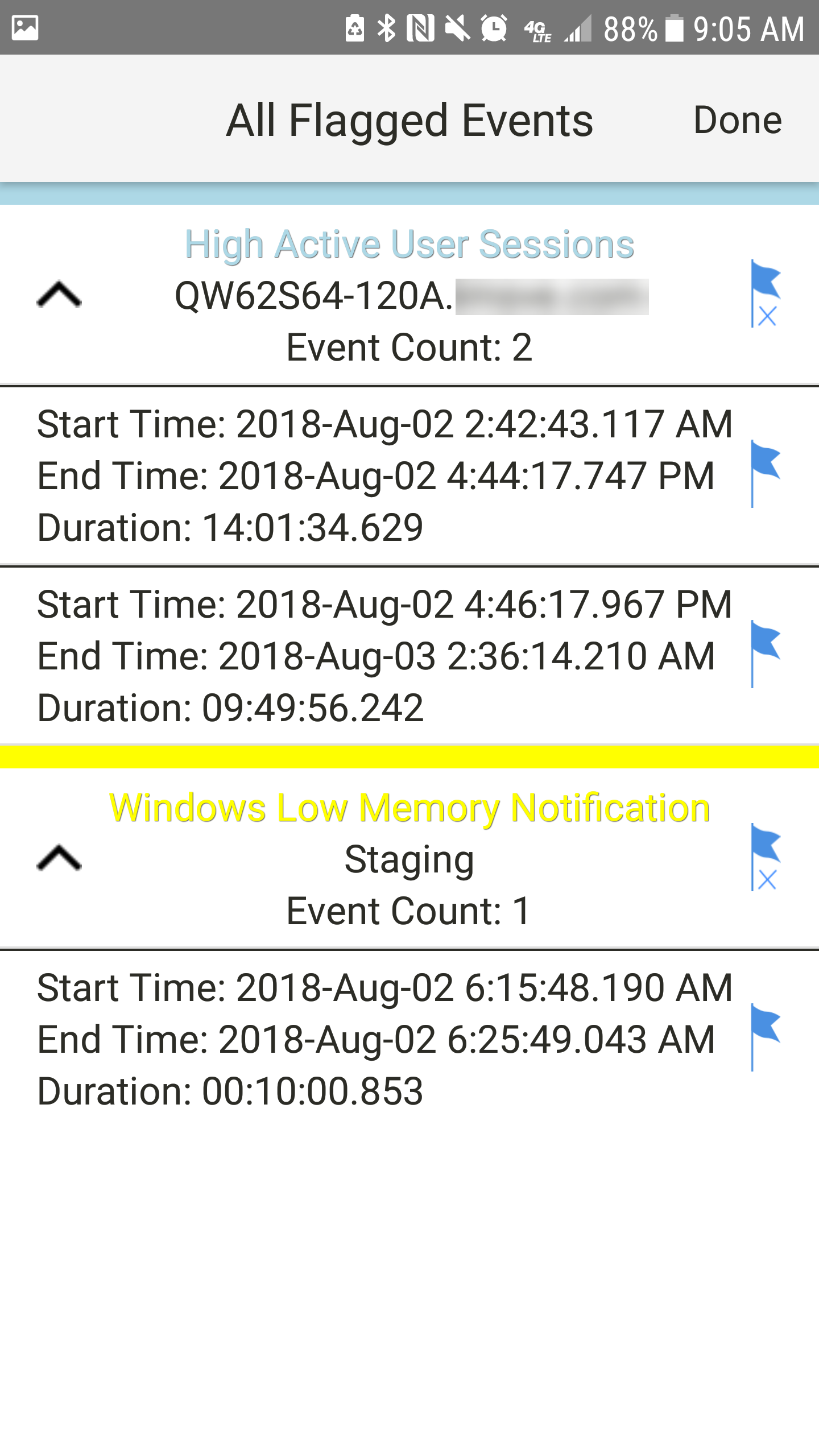 SentryOne App for Android All Flagged Events