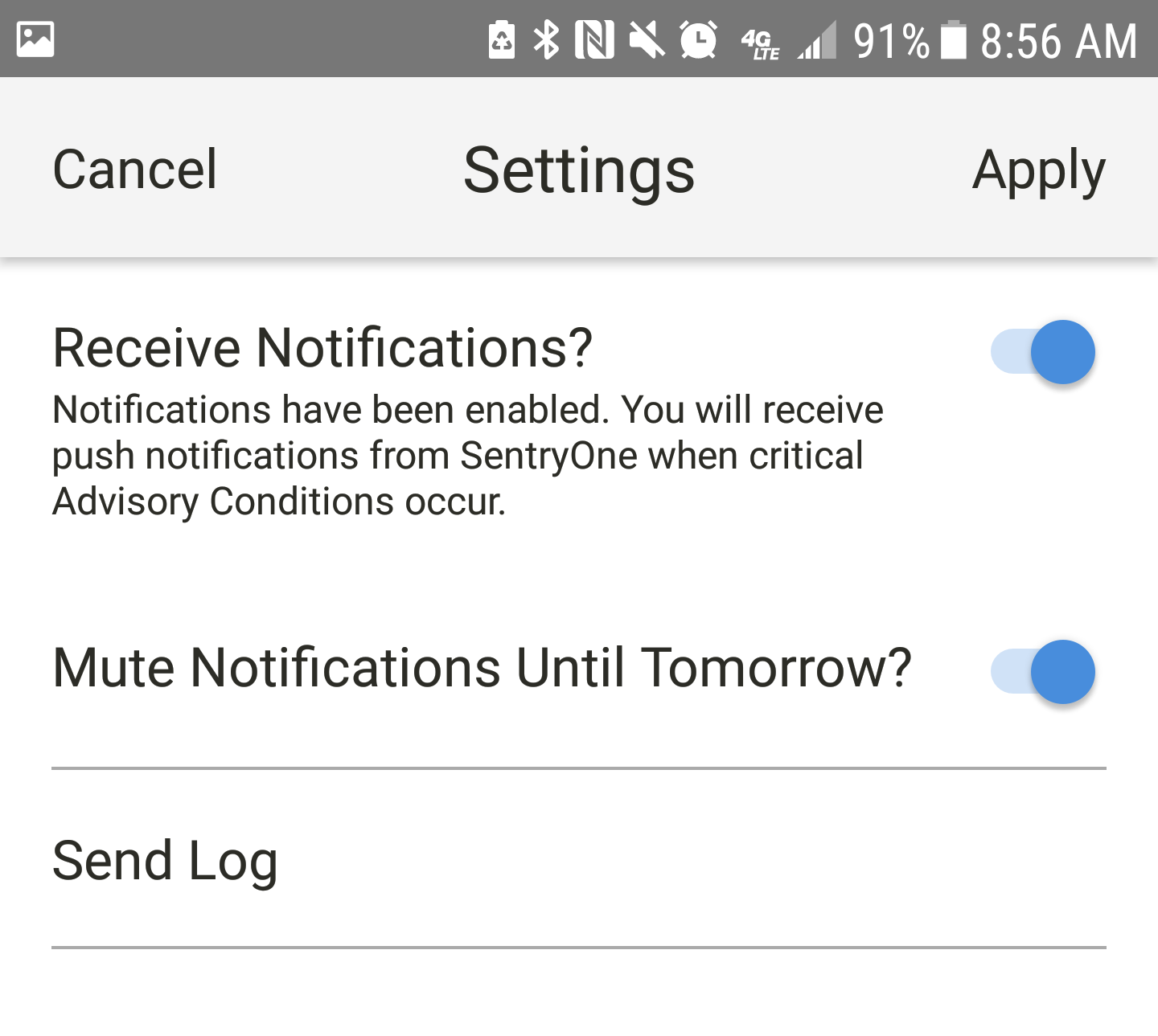 SentryOne App for Android Settings