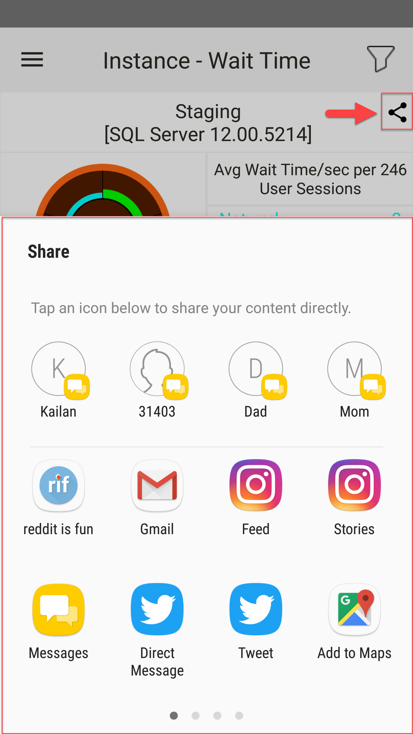 SentryOne App for Android Share menu