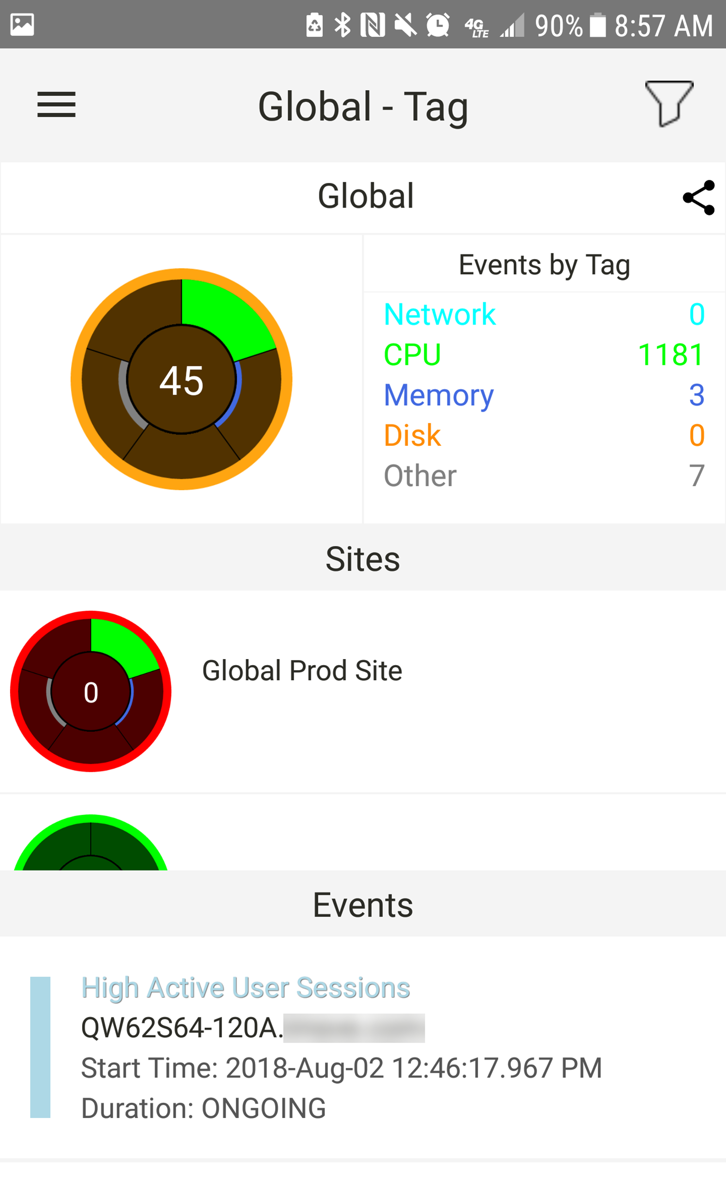 SentryOne App for Android Global Events by Tag