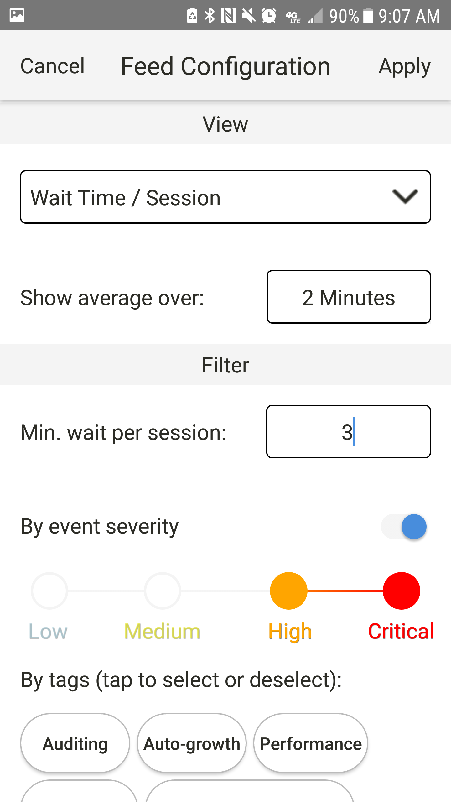 SentryOne App for Android view by Wait Time/Session