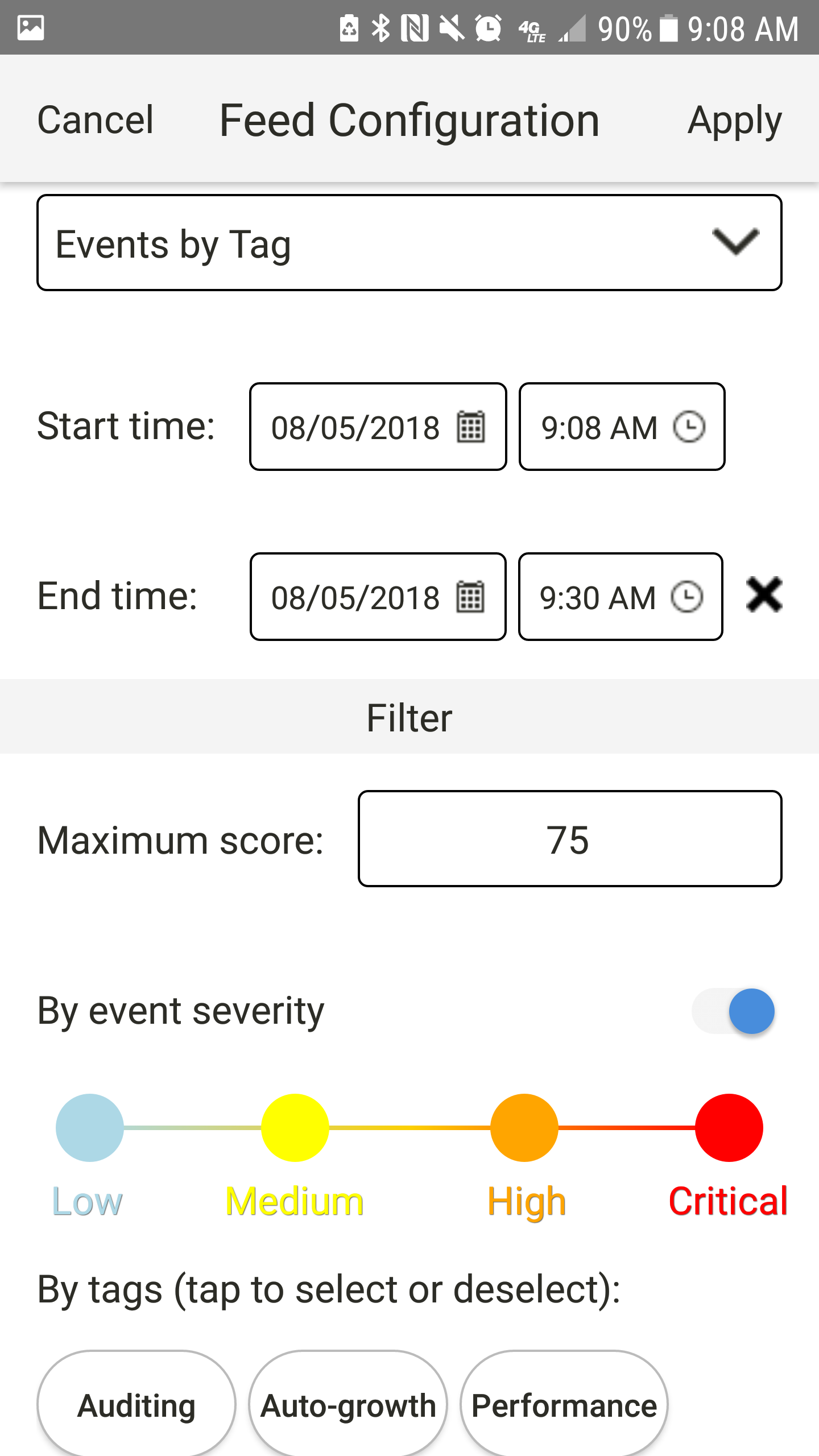SentryOne App for Android Events by Tag