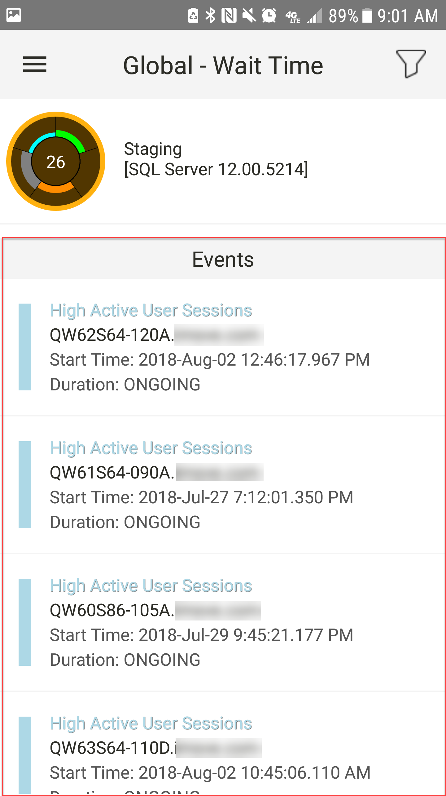 SentryOne App for Android Events Log