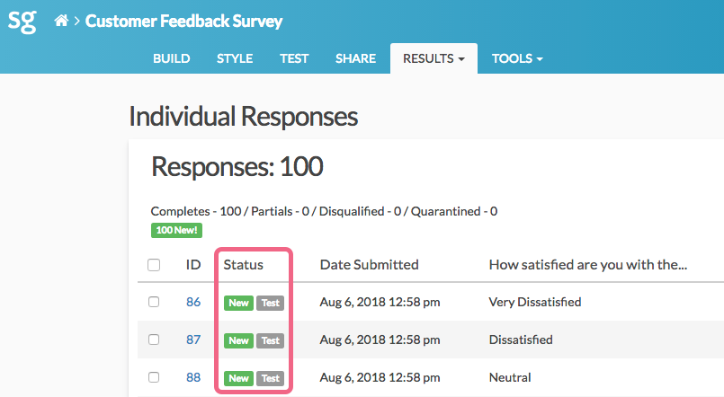 Test Responses on the Individual Responses Page