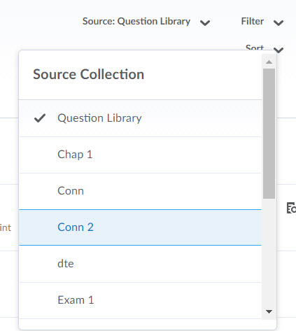 Question Library Source Collection options