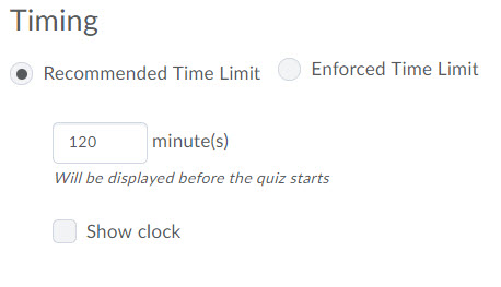 Timing options for quiz