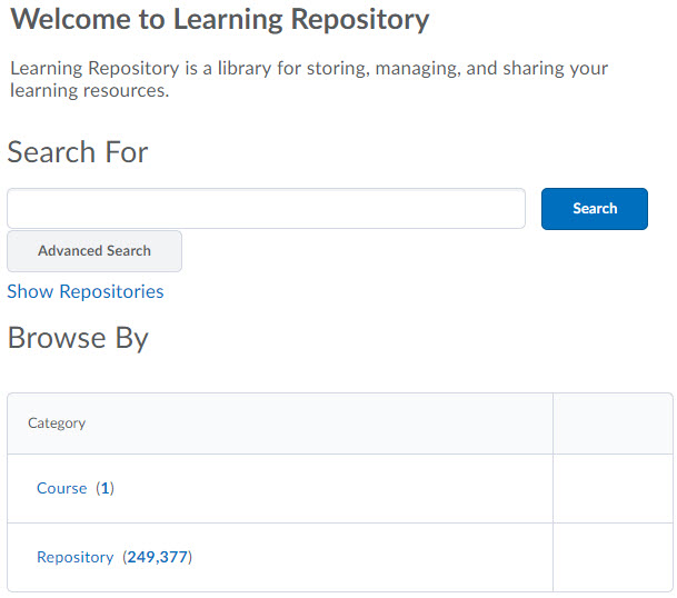 Search page for Learning Repository