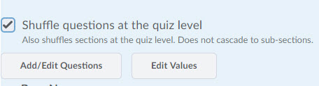 Shuffle questions at the quiz level option