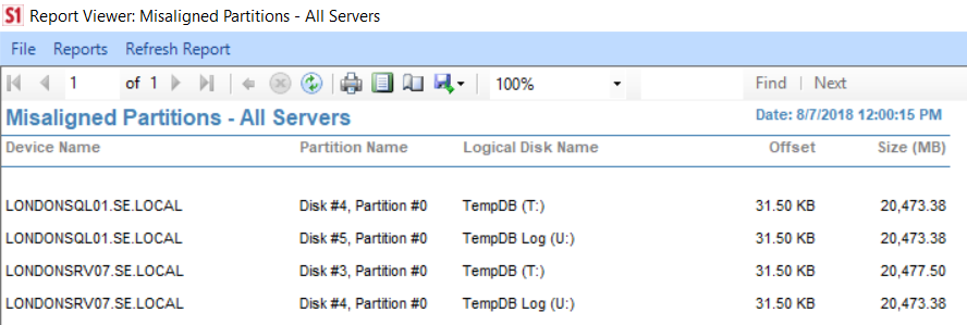 SentryOne Misaligned Partitions All Server