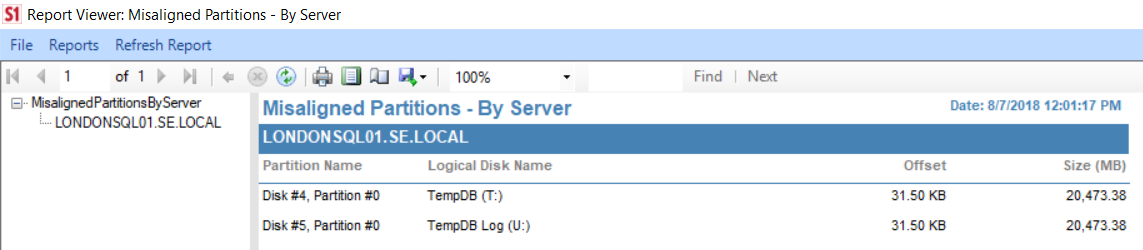 SentryOne Misaligned Partitions By Server