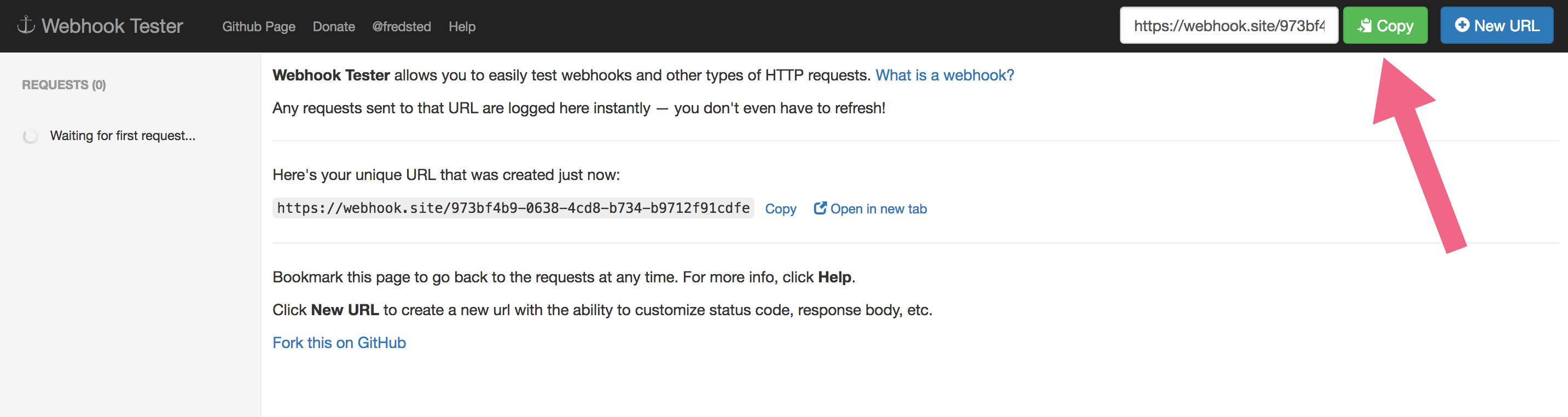 Copy Your Webhook Tester Test URL