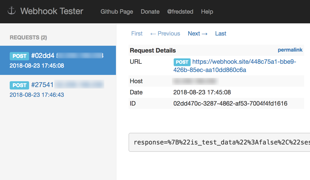 View Webhook Results via Webhook Tester