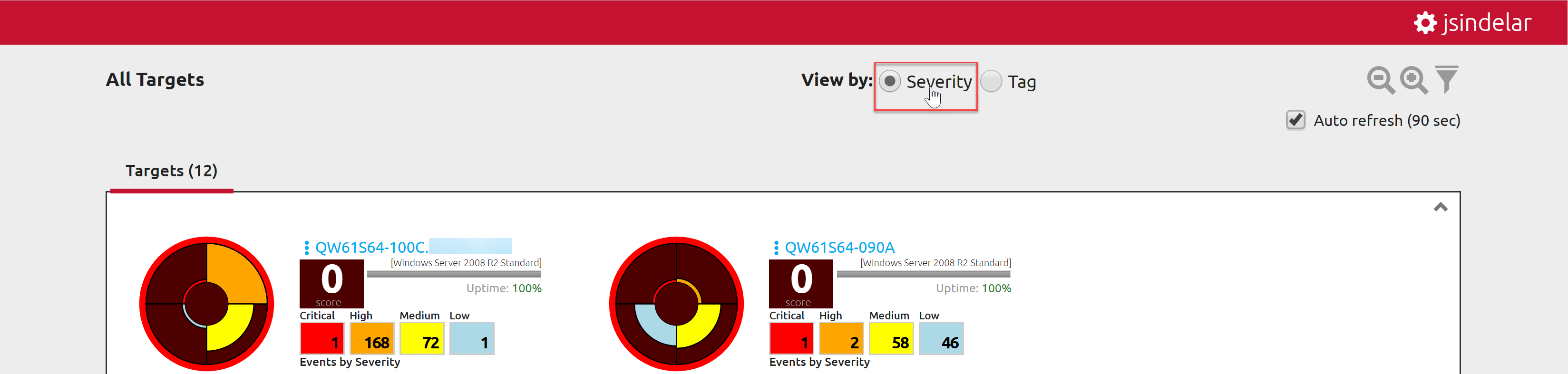 SentryOne Cloud All Targets View by Severity