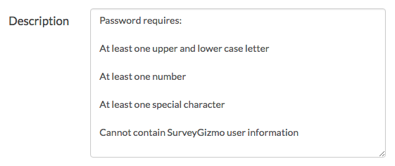 Password Complexity Description
