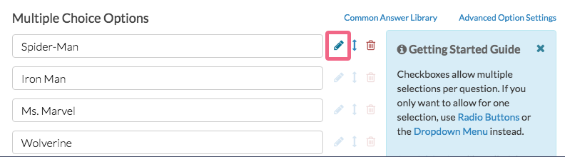 Edit Answer Option