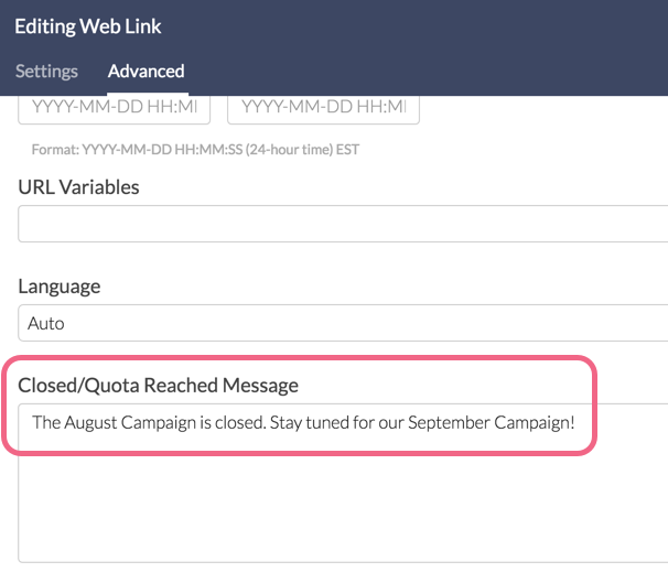 Specify Link-Based Close Message