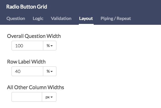 Grid Questions - Specify Other Row Width
