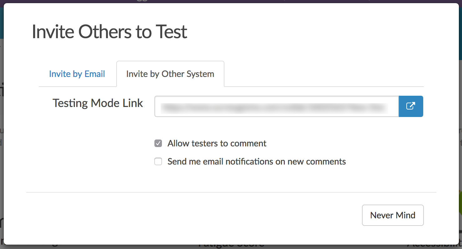 Invite Others To Test Via Another System