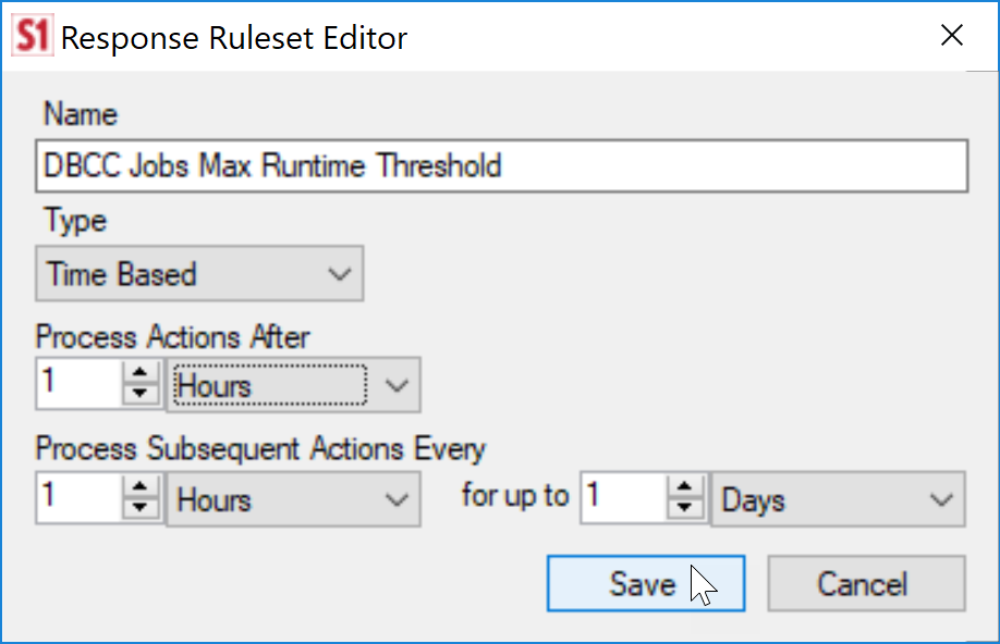 SentryOne Response Ruleset Example