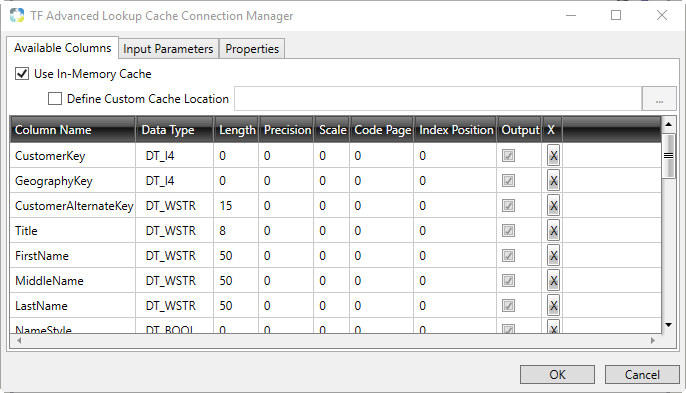 Task Factory Advanced Lookup Cache Connection Manager Available Columns