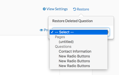 Select a Question or Page to Restore