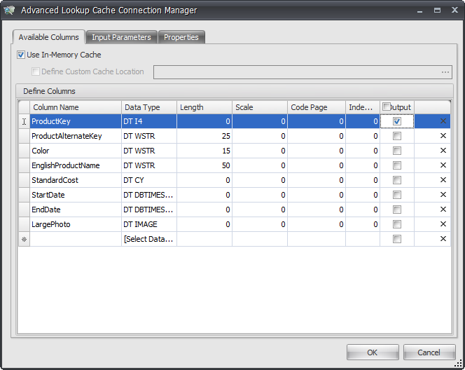 Task Factory Advanced Lookup Connection Manager Available Columns