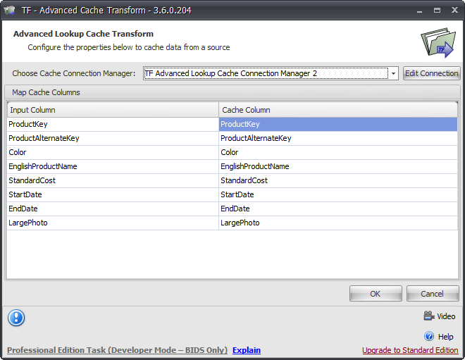 Task Factory Advanced Cache Transform Example
