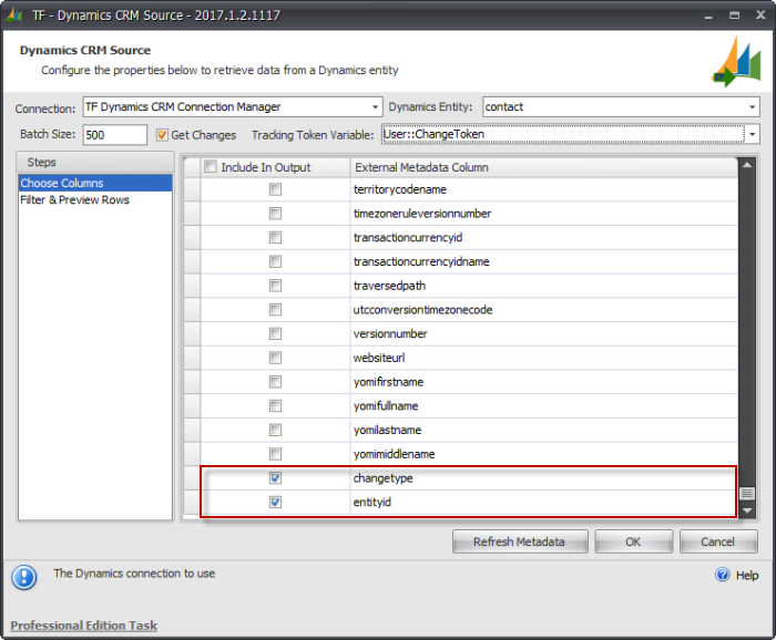 Task Factory Dynamics CRM Source changetype and entityid columns