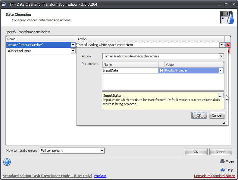Task Factory Data Cleansing Transformation Editor Action drop-down