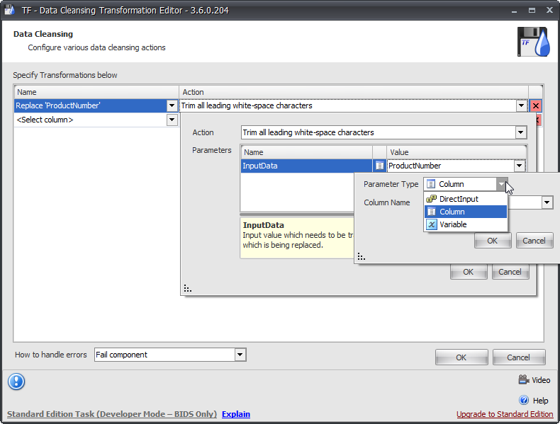 Task Factory Data Cleansing Transformation Editor Parameter selection