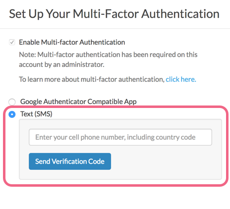 Set Up Text (SMS) Multi-factor Authentication