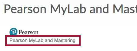 Pearson's MyLab and Mastering link