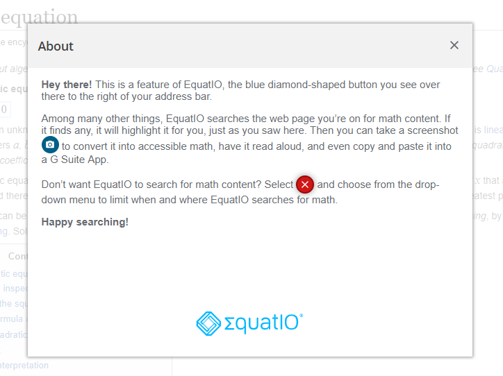 EquatIO About window