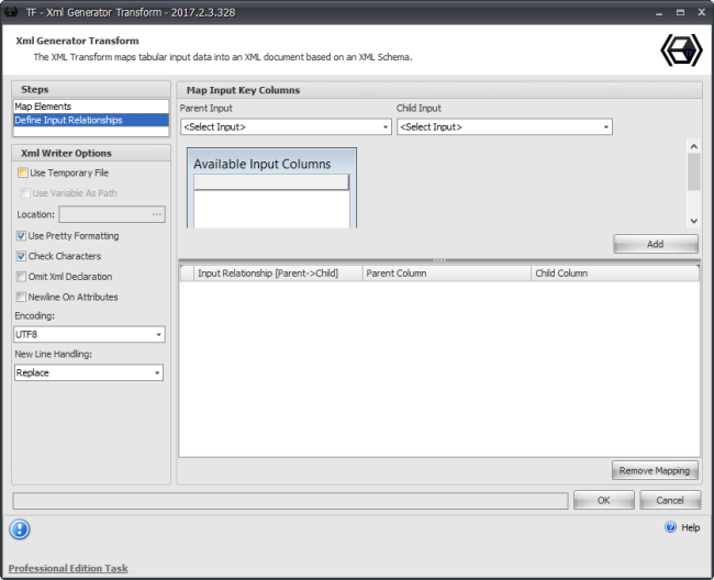 Task Factory Xml Generator Transform Define Input Relationships