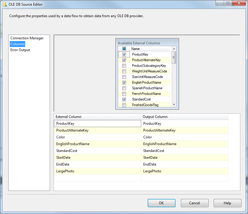 Task Factory OLE DB Source Editor select columns