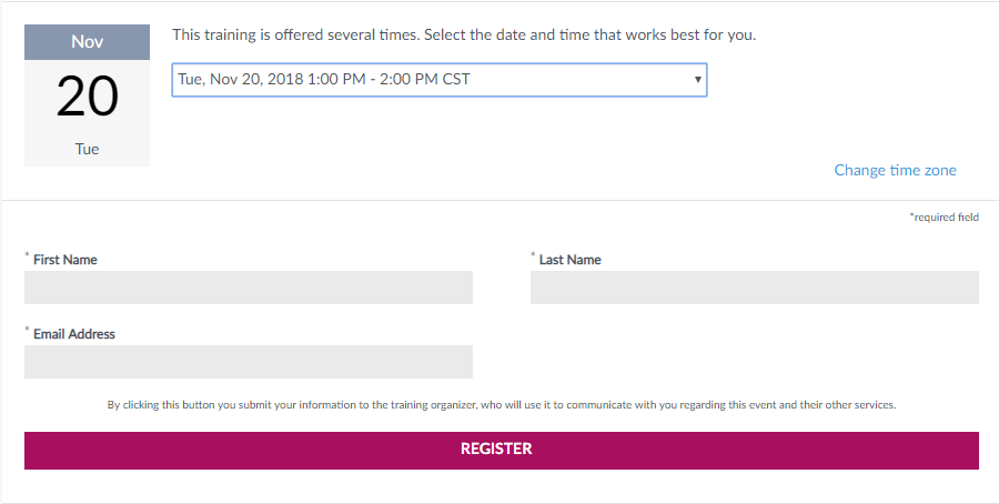 shows training registration fields.