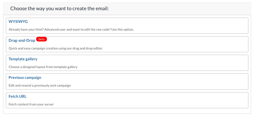 Email creation options
