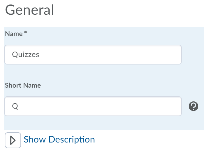 Shows the create a gradebook category General area.