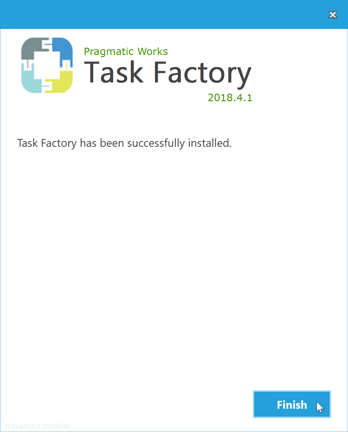 Task Factory Installation select Finish