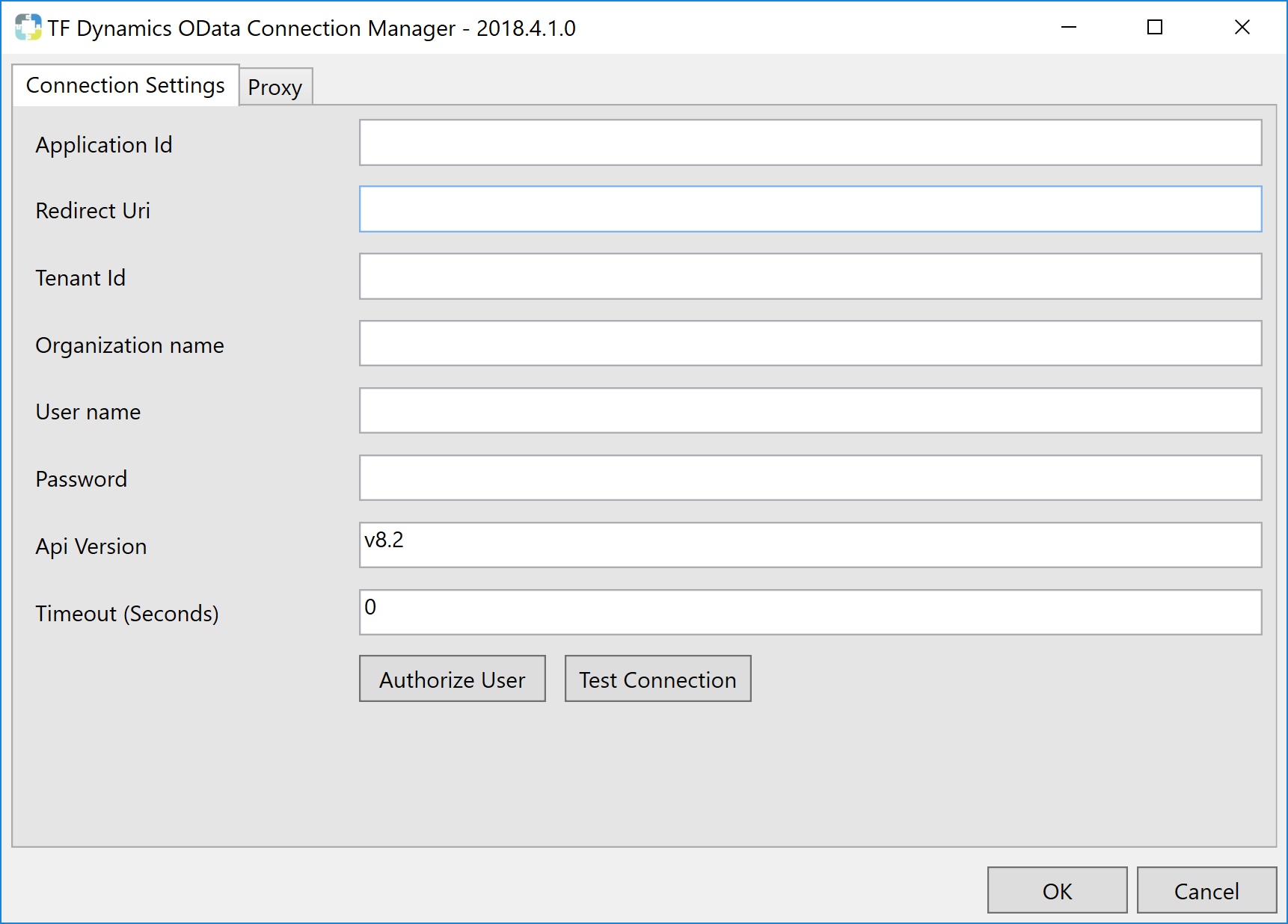 Task Factory Dynamics OData Connection Manager Connection Settings