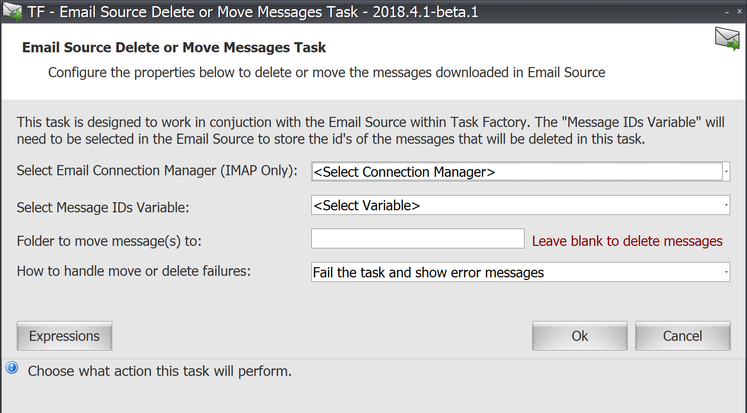 Task Factory Email Source Delete or Move Messages Task