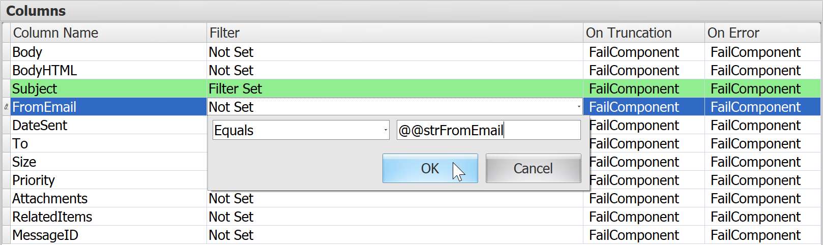 Task Factory Email Source Variables example