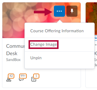 Identifies Change Image option for a course.